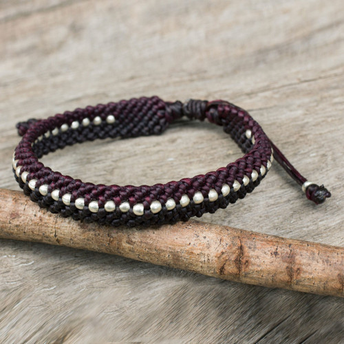 Maroon and Brown Macrame Bracelet with Hill Tribe Silver 'Maroon and Brown Knots'