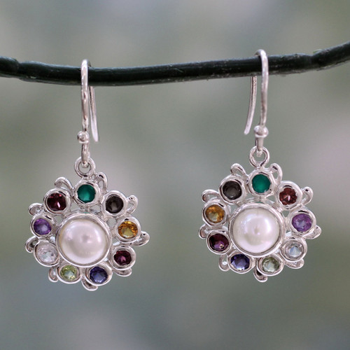 Silver Earrings Handcrafted with Cultured Pearl and Gems 'Rainbow Halo'