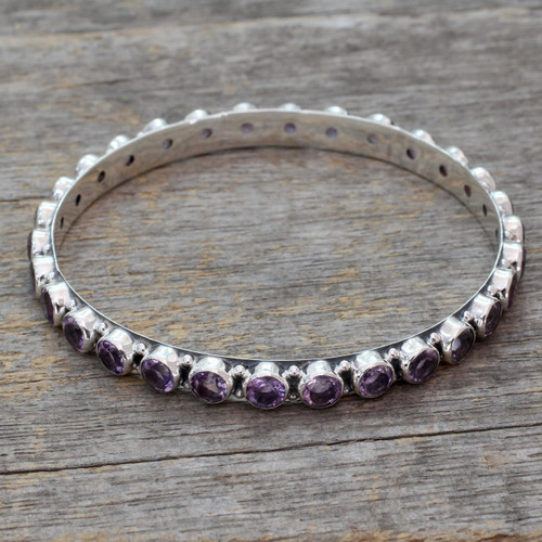 22-carat Amethyst Fair Trade Silver Bangle Bracelet 'Spiritual Energy'