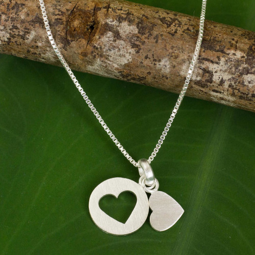 Thai Double Heart Pendants on Sterling Silver Necklace 'Soul Mates in the Moon'