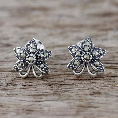 Sterling Silver Orchid Flower Earrings with Marcasite 'Dewkissed Orchids'
