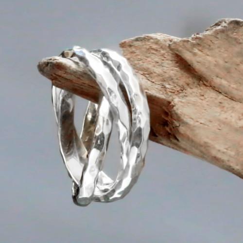 Set of 3 Interlinked Sterling Silver Rings from Bali 'Denpasar Roads'