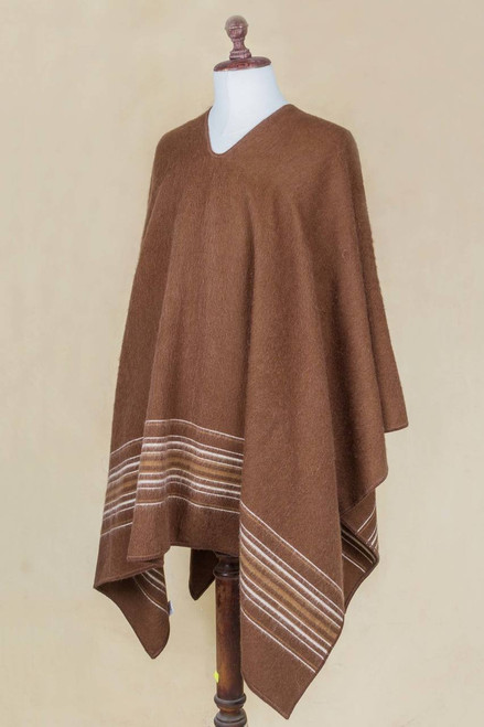 Artisan Crafted Men's Brown Alpaca Blend Poncho from Peru 'Peaceful Earth'