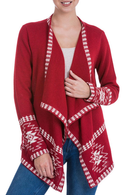 Red Alpaca Wool Cardigan with White Glyph Stars from Peru 'Crimson Twilight Stars'
