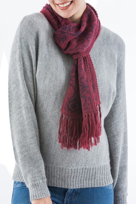 Warm Red Floral Jacquard Alpaca Blend Scarf 'Cherry Grape'