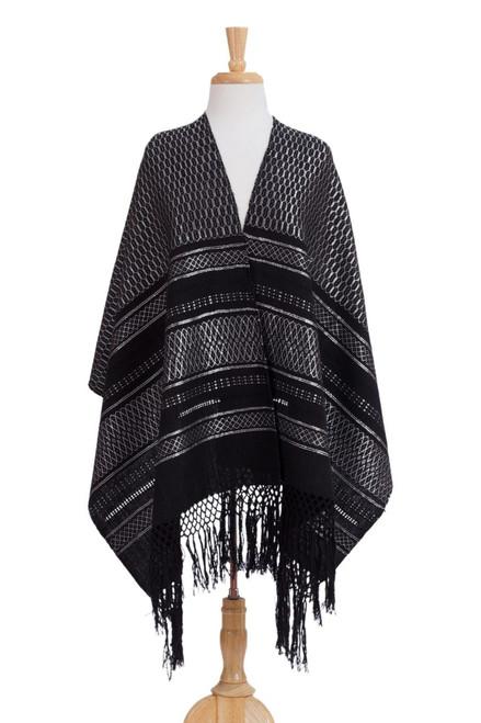 Silvery Grey on Black Handwoven Zapotec Rebozo Shawl 'Fiesta in Black and Silver'
