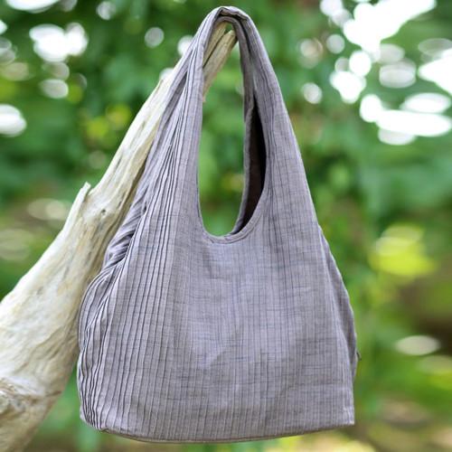 100% Cotton Textured Shoulder Bag in Grey from Thailand 'Thai Texture in Grey'