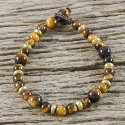 Hand Crafted Bead Bracelet of Tiger's Eye and Brass 'Courageous Eye'