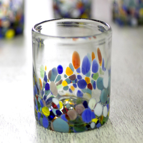 Hand Blown Glass Colorful Juice Glasses (Set of 6) 'Confetti '