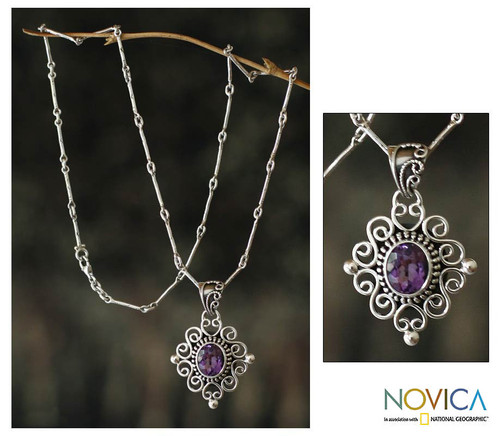 Indonesian Amethyst Sterling Silver Necklace 'Lilac Scroll'
