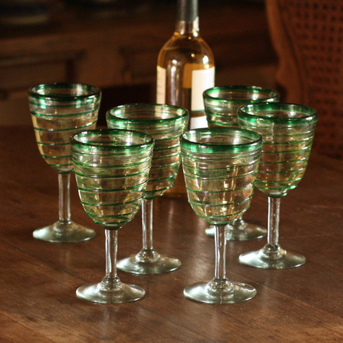 Hand Made Mexican Handblown Glass Striped Wine Goblets 'Green Spiral'