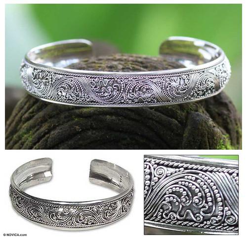 Sterling Silver Cuff Bracelet 'Enchanted Ivy'