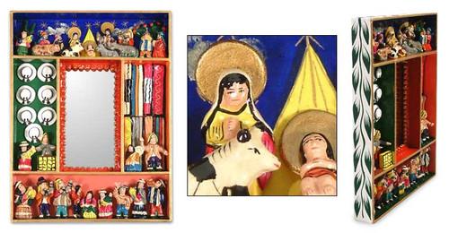 Hand Made Religious Nativity Folk Art Mirror 'Chapel of Bethlehem'