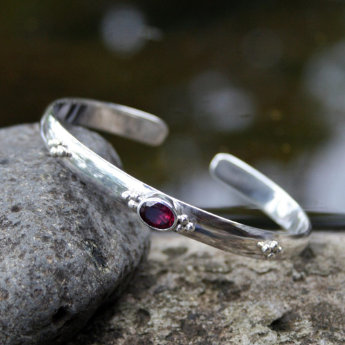 Garnet Sterling Silver Cuff Bracelet from Indonesia 'Eye of Beauty'