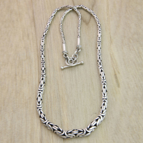 Indonesian Sterling Silver Chain Necklace 'Memoirs'