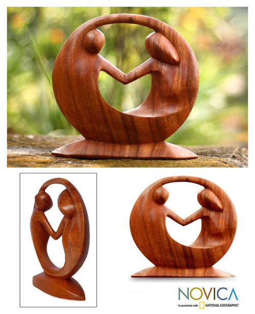 Hand Carved Suar Wood Sculpture 'World Peace'
