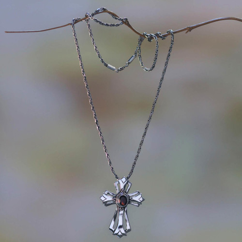 Garnet necklace 'Blossom Cross'