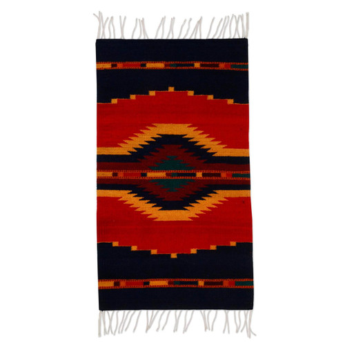 Handcrafted Zapotec Red and Blue Area Rug 'Reflections'