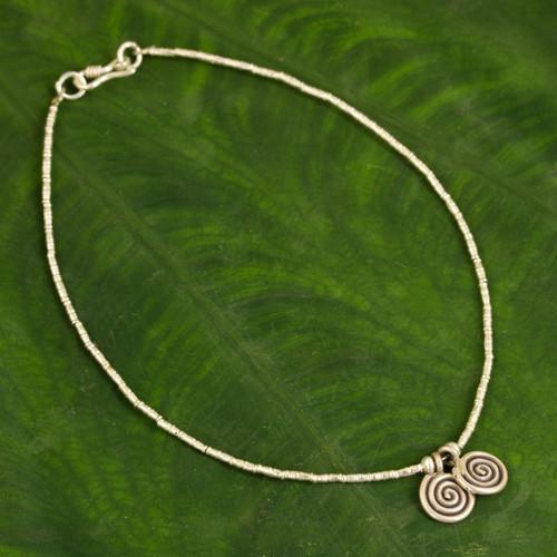 Thai Hill Tribe Silver Anklet 'Secret Circle'