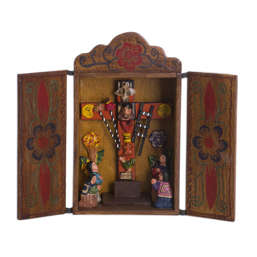 Hand Made Religious Wood Retablo Diorama Andean Folk Art 'Cross of Lamentation'