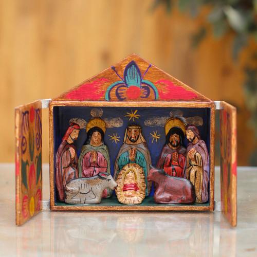 Fair Trade Nativity Scene Retablo Wood Sculpture 'Jesus Spoke of Peace'