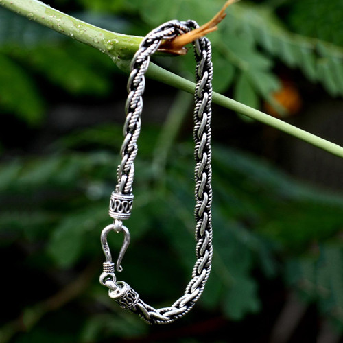 Handmade Men's Silver Link Bracelet 'Flowing River'