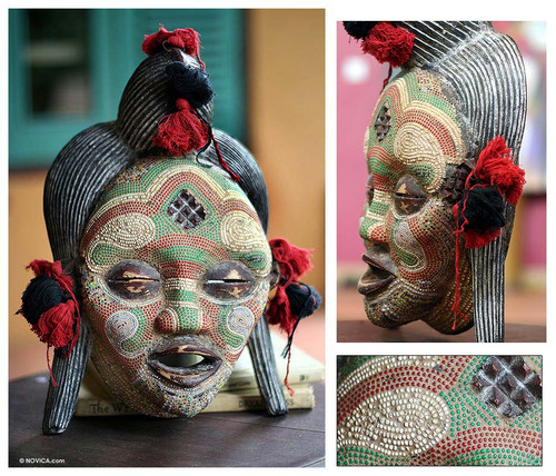 Hand Beaded Congo Zaire Wood Mask 'River Goddess'