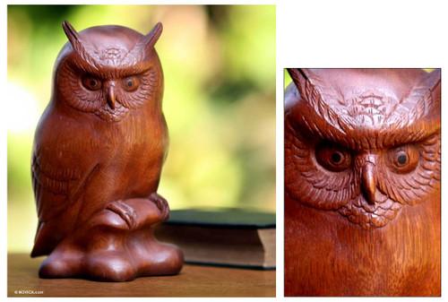 Fair Trade Wood Bird Sculpture 'Crested Owl'