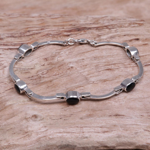 Sterling Silver Onyx Bracelet from Indonesia 'Black Rice Seeds'
