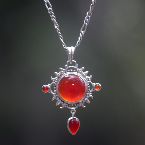 Carnelian Sterling Silver Pendant Necklace 'Radiant Sun'