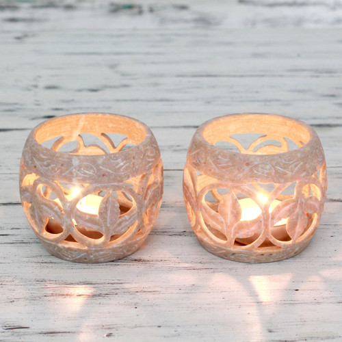 Handcrafted Soapstone Candle Holders Set 2 'Fig Leaf'