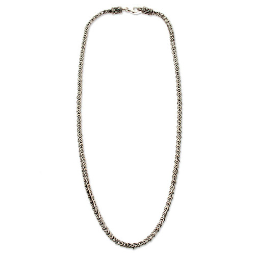 Sterling Silver Chain Necklace 'Dragon Spine'