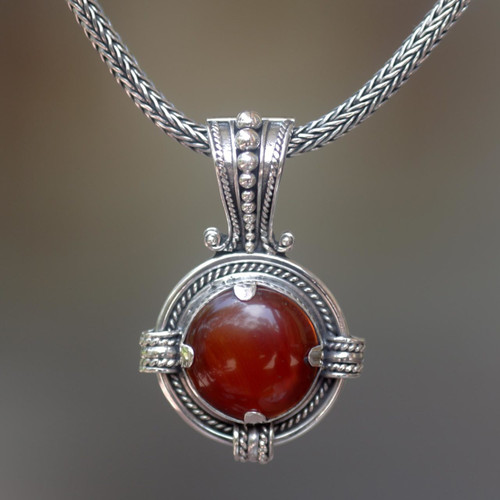 Sterling Silver Carnelian Pendant Necklace 'Russet Oracle'