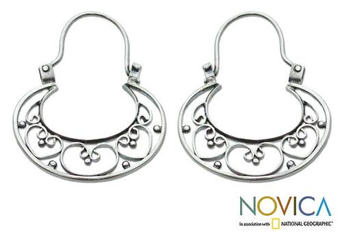 Sterling Silver Hoop Earrings 'Our Three Hearts'