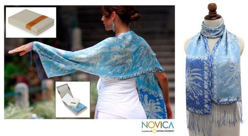 Batik Silk Scarf from Indonesia 'Sky Blue Blossom'