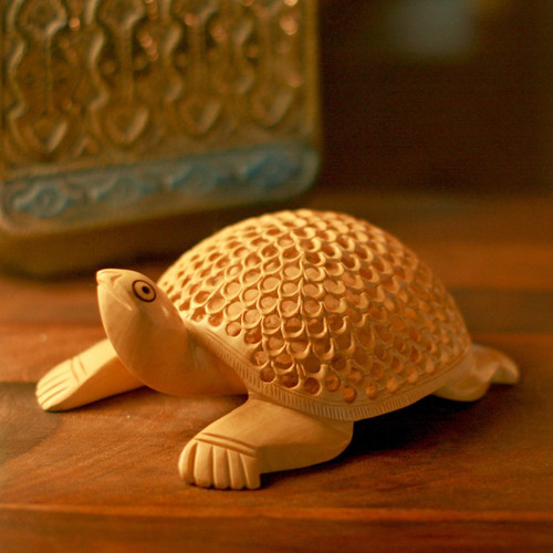 Artisan Crafted Indian Sculpture Hand Carved in Wood 'Lucky Turtle'