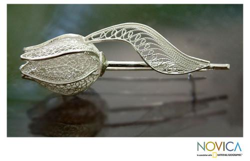 Sterling silver brooch pin 'Silver Tulip'