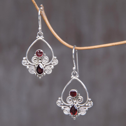 Heart Shaped Garnet Sterling Silver Earrings 'Heart in Love'