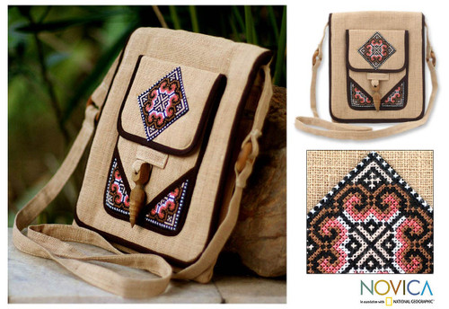 Thai Hill Tribe Embroidered Hemp Shoulder Bag  'Earth Miracle'