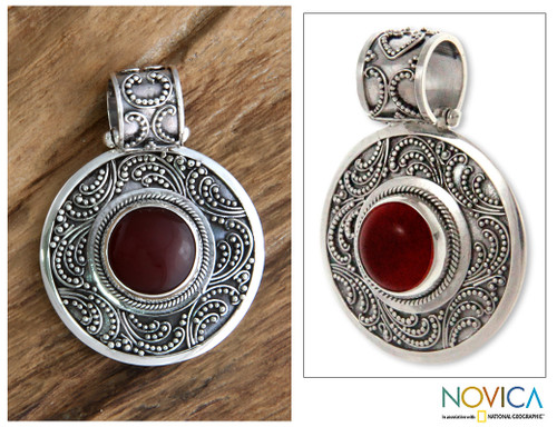 Sterling Silver and Carnelian Pendant 'Luxury'