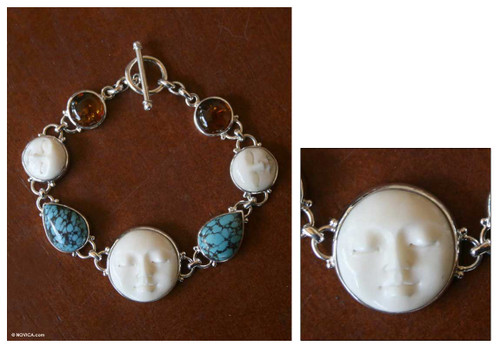 Carved Bone Sterling Silver Bracelet 'Goddesses'
