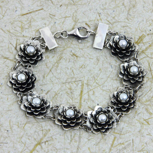 Silver and Pearl Lotus Bracelet Artisan Crafted Jewelry 'Sacred Lotus'