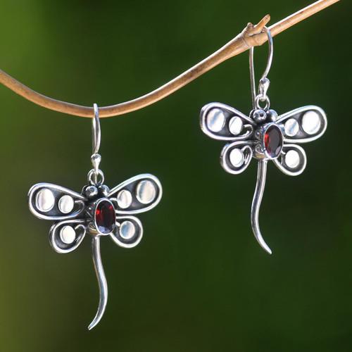 Garnet dangle earrings 'Dragonfly Glow'