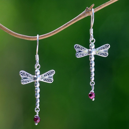 Sterling Silver Dangle Earrings 'Nocturnal Dragonfly'