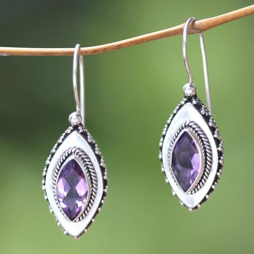 Sterling Silver Amethyst Drop Earrings 'Diamond Sparkle'