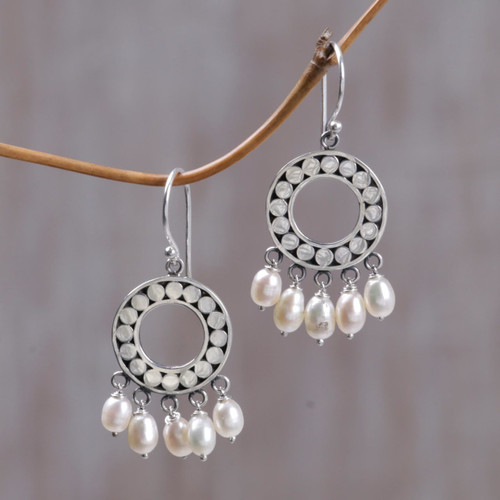 Indonesian Sterling Silver Pearl Chandelier Earrings 'White Moon Aura'