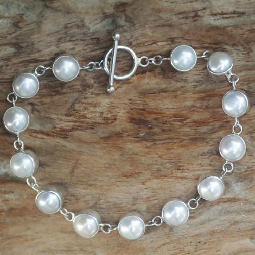 Pearl Sterling Silver Link Bracelet 'Sterling Contrasts'