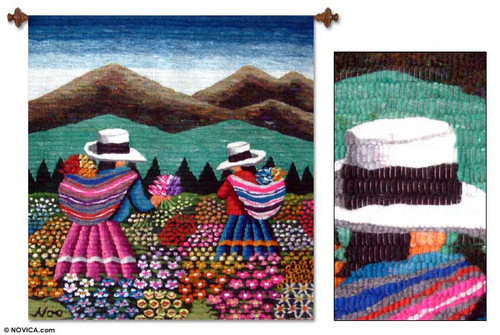 Floral Wool Tapestry Wall Hanging 'Women Picking Flowers'