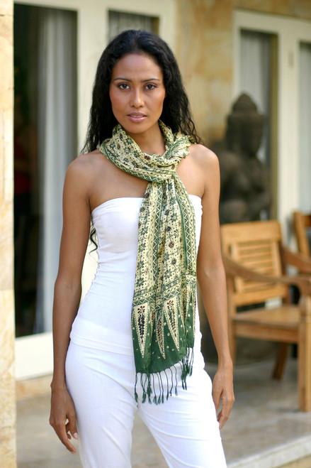Green Batik Silk Scarf 'Jade Jasmine'