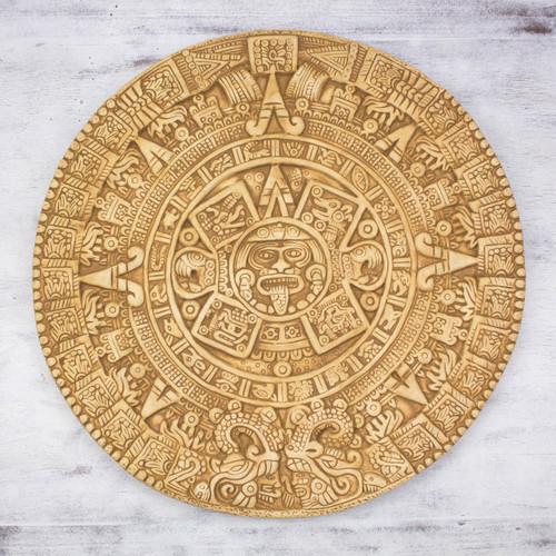 Fair Trade Mexican Archaeological Ceramic Aztec Calendar 'Mexica Calendar'